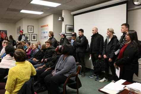 Students gathered to support the student wage initiative in the November 2019 meeting of the Board of Trustees.